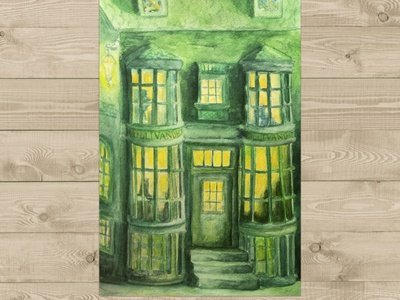 Ollivander's Store (Harry Potter) freehand drawing watercolor picture illustration