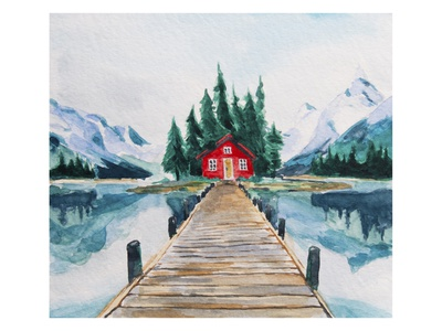 Watercolor drawing - house in the mountains illustration still life house on the lake house in the mountains architecture lake forest watercolor drawing nature illustration nature nature art drawing watercolor illustration watercolor art watercolor painting watercolor