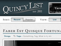 Quincy List - Header & Blog Entry Title