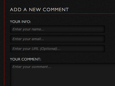Add a New Comment Form form input checkbox submit textarea comments captcha