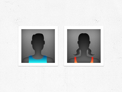 Male & Female Default Avatars for a new Sports App avatar sports male female app