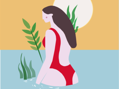 in the river vector illustration design