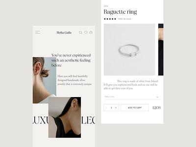 Jewelry Shop Mobile Version beige website webdesign design ux uiux ui shop jewelry mobile ui mobile
