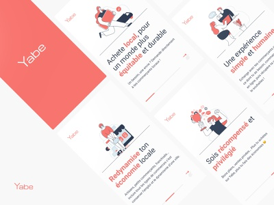 Yabe.co application minimal luxembourg illustrations splashpage onboarding app design app