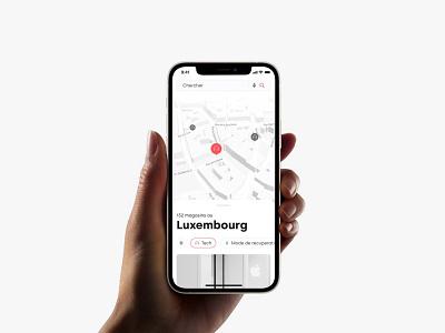 Yabe app sans serif white minimal mobile ecommerce shops lightmode app map
