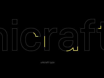 Unicraft typo black yellow clean darkmode dark minimal logotype typo logo