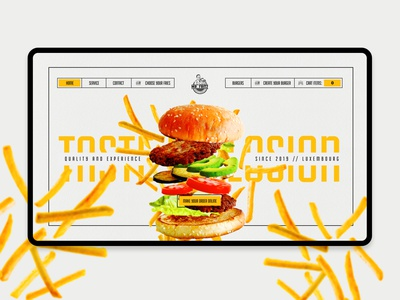Mr. Fritz homepage layout explosion fries hamburger webdesign
