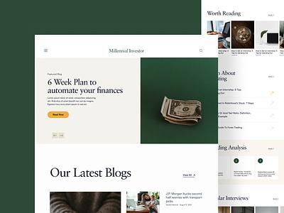 Blog Website investing millennials blogs design ux ui