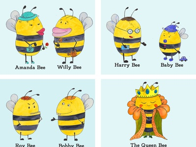 Positive Bees childrenillusration bees watercolor illustration