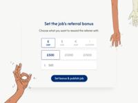 Set referral bonus interface