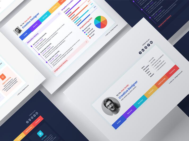 Jovi- CV Resume / Vcard PSD & XD Template xd template vcard psd vcard psd cv resume