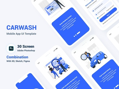 Car Wash Mobile App UI Template washing wash vehicle psd parking modern garage full app dark creative carwash car washing app car booking automobiles appointment