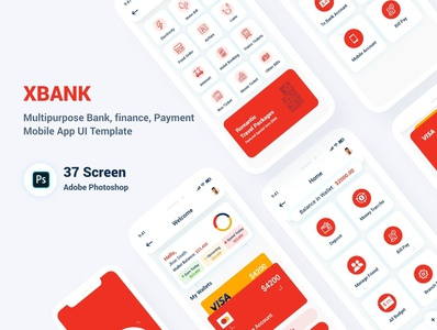 Multipurpose Banking Wallet Mobile App UI Template wallet ui transfer transaction template psd payment online money modern kit incentives finance bill banking android