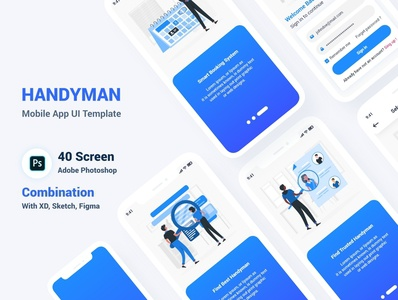 Handyman Mobile App UI Template workman worker ux ui kit trades service repair renovation psd mobile app maintenance ios house electrician construction cleaner