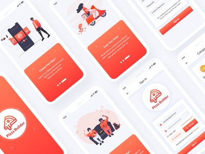 Pizza Builder Mobile App UI Template psd template xd design user interface ui rating pizza builder pizza order online modern mobile menu iphone ios interface food delivery clean burger