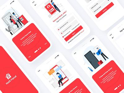 Parcel Courier Mobile App UI Template freelancer illustration design flat ux ui template red psd parcel mobile ios courier clean business app andorid. ui