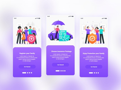 Insurance Mobile App UI Template flat illustration ux designer uidesign ios app ux ui template psd marine insurance life insurance ios insurance home insurance health insurance fire insurance family insurance colorful android