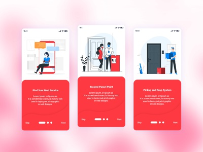 Parcel Courier Mobile App UI Template uidesign uidesigners mobile application mobile app mobile app design uidesigner uxdesigner ux ui template red psd parcel mobile ios courier clean business app andorid. ui