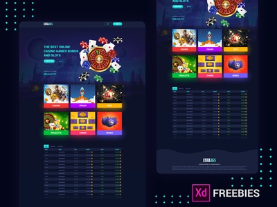 Casino Games Landing Page Free XD Template download xd xd template xd design freebies free freebie landing page ui online casino games casino