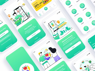 Grocery Shop Mobile App UI Template ux ui behance case study vegetables