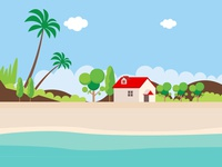 Beach summer vacation tropical island flat style