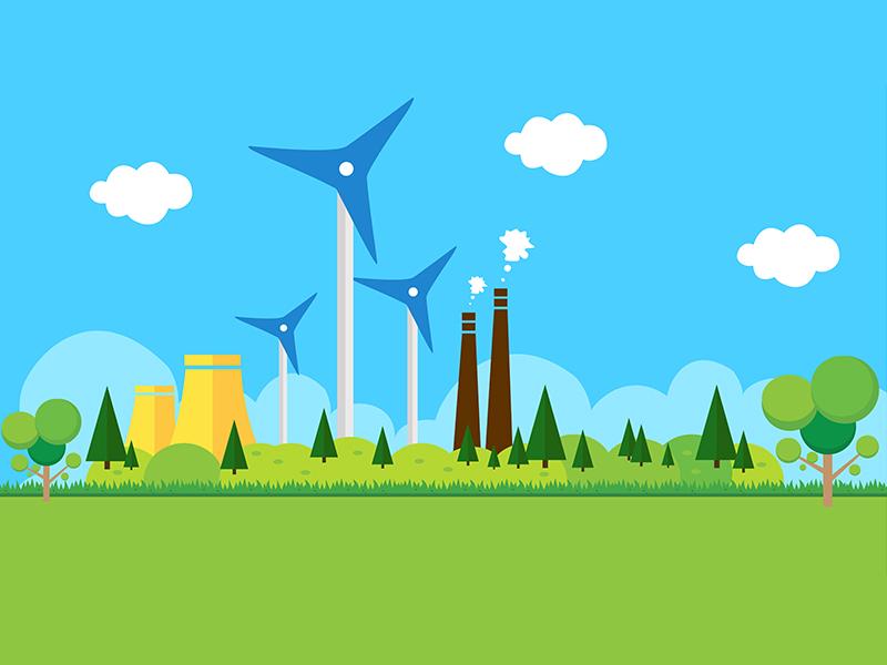 Gasoline Station and plant design file free eps sky natural illustration flat design plant and station gasoline