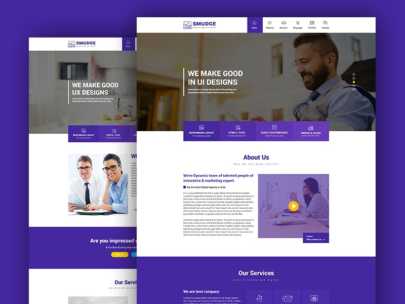 Smudge - A Fresh Digital Agency PSD Template website design web development agency web design service web design agency online marketing it firm graphic designer freelancer digital marketing digital agency design