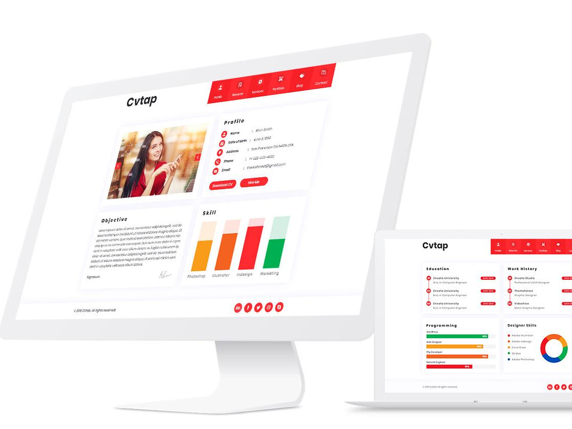 Cvtap - CV Resume Portfolio HTML5 Template virtual card virtual business card vcard resume portfolio personal website personal vcard personal material cv freelancer cv corporate clean
