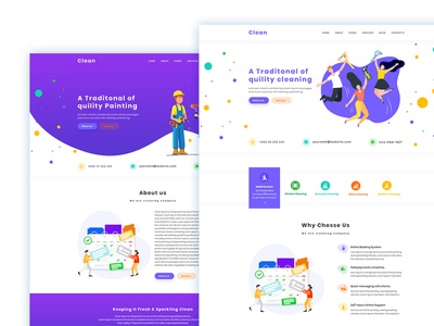 Cleaner Company PSD Template
