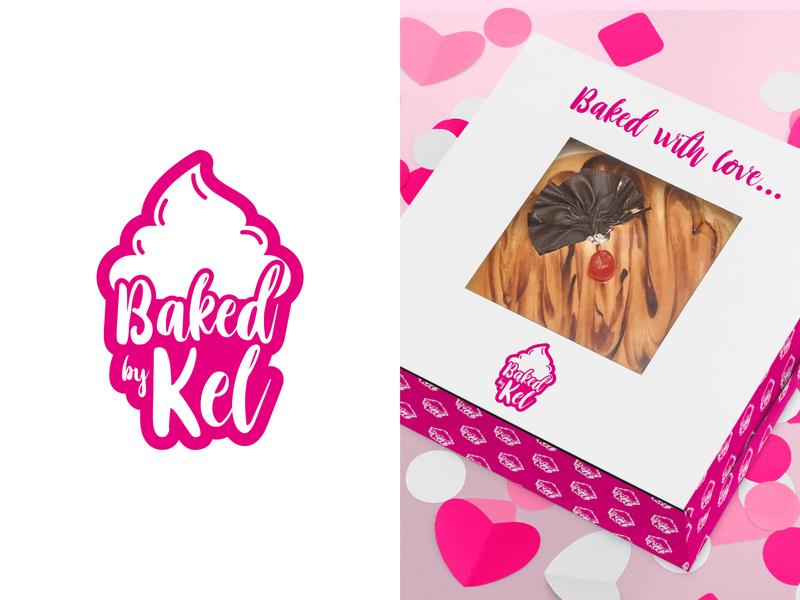 Baked By Kel baking cakes vector branding logo design graphic design