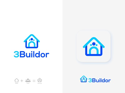 3Buildor real estate logo design brand identity brand real estate business real estate logo maker construction corporate architecture property business apartment modern house city home house building blue appicon logo