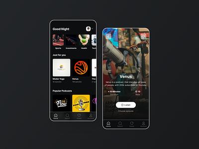 Podcast app | UI/UX podcast app podcast podcast desiugn ux flat ux design uiux ui design ui minimal design