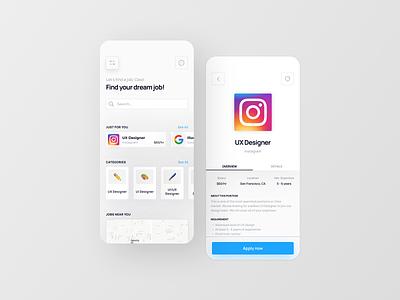 Job finder app | UI/UX app concept job finder job finder app web ux flat ux design ui uiux ui design minimal design