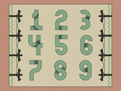 Speedway - Numbers typography font design illustration