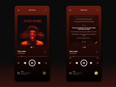 Genius meets Spotify uidaily too late the weeknd theweeknd lyrics genius spotify ui design ui uiux