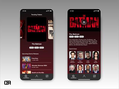 Film Trailers app concept film app ui inspiration uidesign ui app uiinspiration app batman trailers film