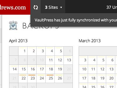 Status Ticker vaultpress status ticker header