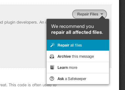 Repair all files vaultpress popover options button icons security wordpress
