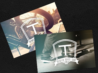 Business cards - Tremplin Riders Shop business cards cards logo identity tremplin tremplin riders shop skate roller inline bmx scooter kitesurf wakeboard wake kite snow snowboard clothing shop store