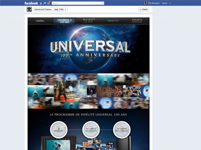 Universal Pictures France - facebook App facebook app facebook app design web webdesign cinema universal
