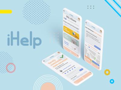 iHelp | Estudo de caso minimal ux product design product logo illustration dailyui branding ui design