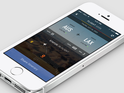 SWA - Mobile Concept airline app mobile iphone5s mockup transparent map usa blurry flight status