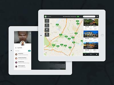 Profile Drawer & Map View ipad mockup design drawer breakingbad walterwhite layout timeline activity feed profile