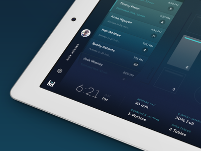 Party for 1 reservations restaurant management waitlists time tablet ipad ios7 design gradient clean interactions