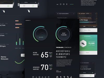 Personal Fitness Tracker - UI Mood Board moodboard typography fnsz funsize design direction iphone progress graphs simple dark ui