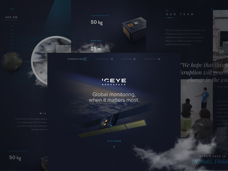 ICEYE - Marketing Site Concept funsize fnsz satellite earth site marketing design explore space