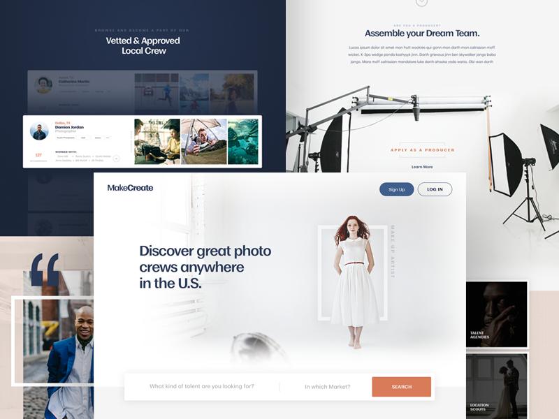 MakeCreate - Home Page Concept moriston funsize austin minimal simple photo marketing photography design