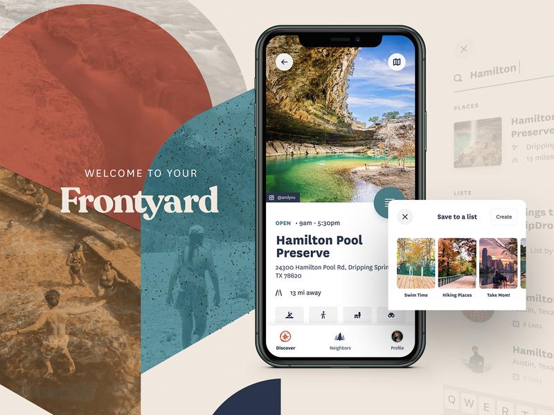 Frontyard - Local Exploration austin adventure iphone mockup minimal branding ux ui logo design