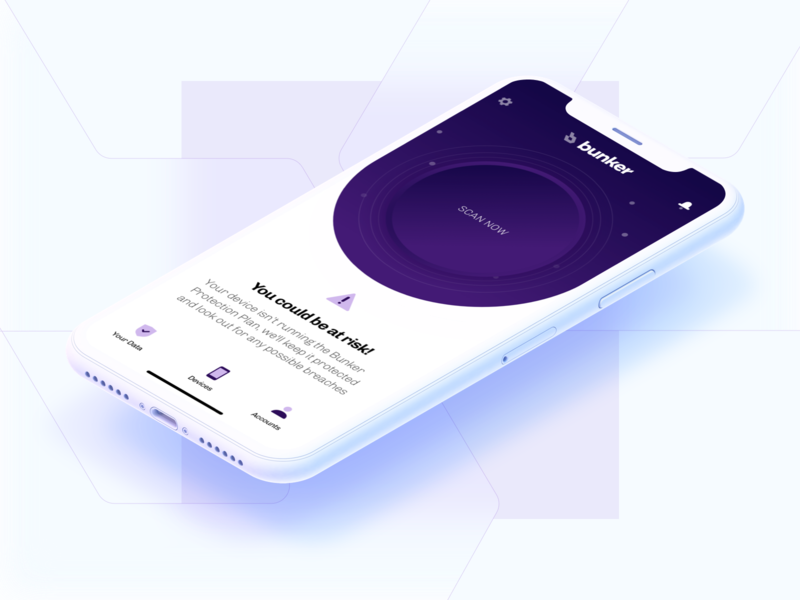Bunker - Initiate Scan iphone x mobile ui mobile design cybersecurity simple ui ux branding minimal design
