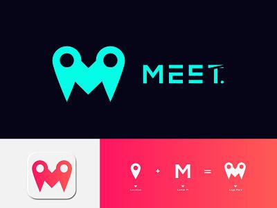 MEET LOGO LETTER M DESIGN app location agency creative logo designer minimal m mark m letter business branding illustration logo maker latter logo logotype logo logo mark icon